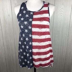 Cloud Chaser American flag handkerchief hem tank